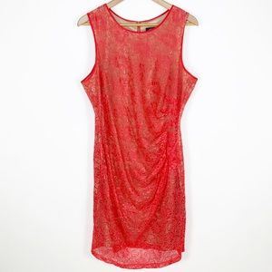 Vince Camuto Coral Lace Ruched Sheath Dress 14